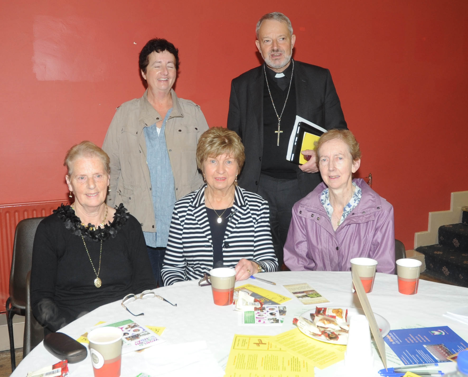 Sheila Leynord, Anna Feely, Bernadette Higgins, Marie Neary, Bishop  K. Doran.