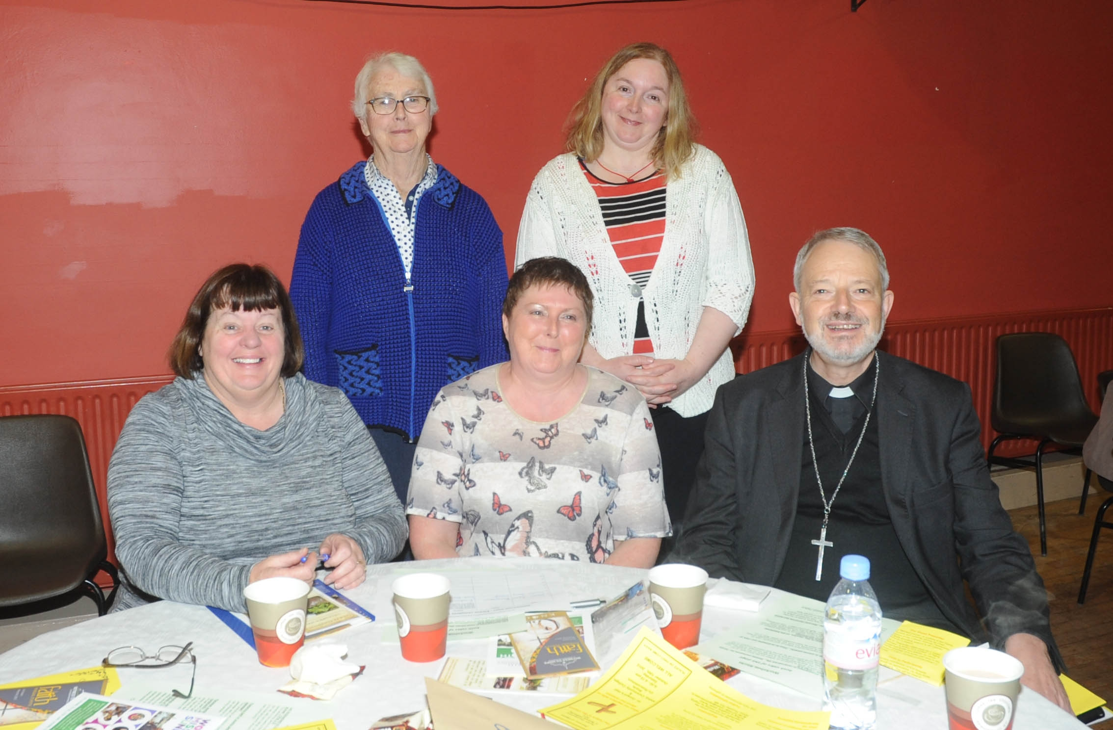 Karen Lyons, Sister 0Maura, Ann Brennan, Vivienne Barry. Bishop k.Doran.