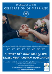 Annual Jubilee of Marriages @ Sacred Heart Church, Roscommon | Roscommon | County Roscommon | Ireland